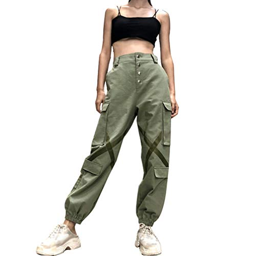 Hip-hop-tanz-hose (JEELINBORE Damen Cargohose Casual Harem Baggy Hip Hop Hosen Tanz Jogginghose Cool Street Hose (Grün, CN L))