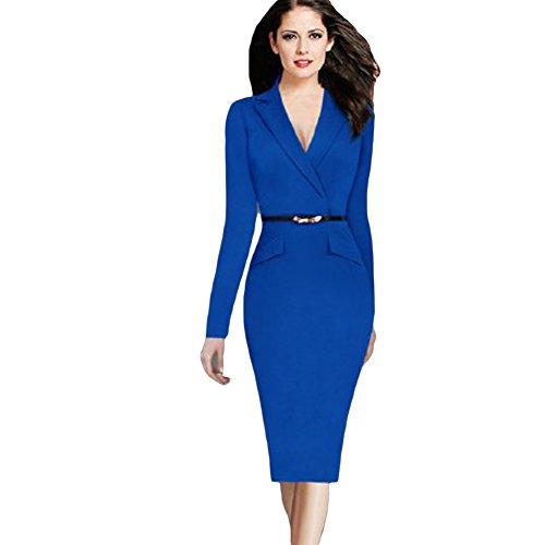 June's Young Femme Robe Crayon Moulante Manches Longues Mi Longue Polyester Bleu Noir Affaires Mariage Cérémonie Cocktail Bleu
