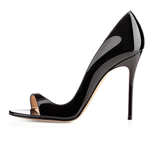 EDEFS Damen Peep Toe Pumps Offene High Heels Lack Stilettos Schuhe Schwarz