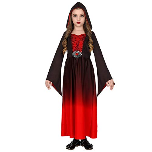 Gothic Kostüm Enchantress - Gothic-Kleid mit Kapuze für Kinder | Rot-Schwarz in Größe 158, 11 - 13 Jahre | Hinreißende Mädchen-Verkleidung Mittelalter Kostüm Burgfräulein | Wie geschaffen für Kinder-Fasching & Gothic Abend