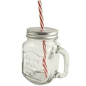 bocal en verre de style vintage mason mug avec couvercle et paille simple cuisine. Black Bedroom Furniture Sets. Home Design Ideas
