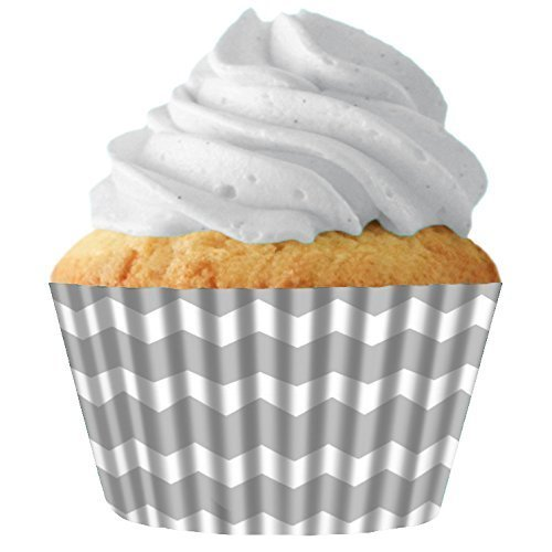 Silver Chevron Standard Cupcake Baking Cup Liners, 32 Count by Cupcake Creations by Siege (Chevron Cupcake Liner)