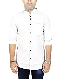 Kuons Avenue AA Men's White Linen Cotton with Belgian Print Mandarin Chinese Collar Long Sleeve Fusion Casual Shirt