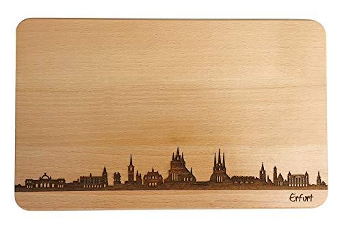 SNEG Brotzeitbrett Erfurt Skyline | Frühstücksbrettchen aus Buche | Holz Schneidbrett | Geschenk mit Gravur | Frühstücksbrett | Thüringen (Standard (22x14x1cm), 1. ohne persönlicher Gravur)