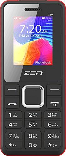 ZEN Power 101 X60 Dual SIM Feature Phone  Black Red  Basic Mobiles