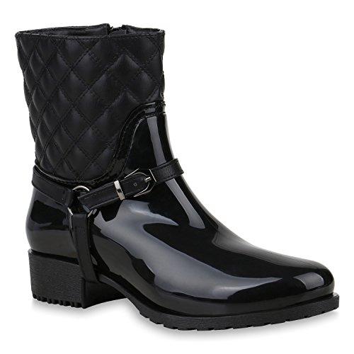Stiefelparadies Damen Gummistiefel Stiefeletten Leicht Gefütterte Stiefel Schuhe 153341 Schwarz Black 37 Flandell