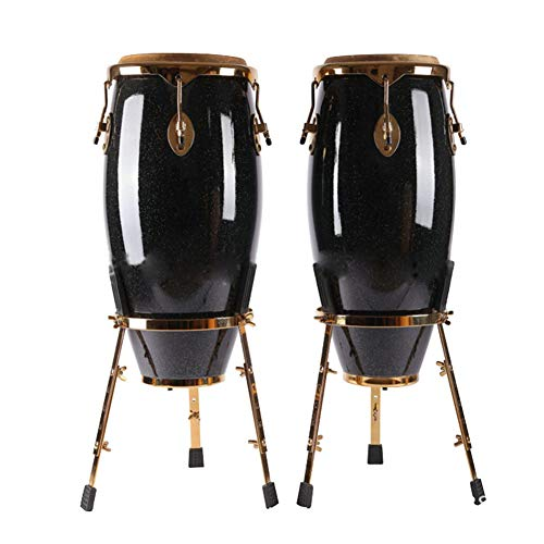 NUYI-2 Afrikanische Trommel vergoldete Konka Trommel 10 + 11 Zoll handgefertigtes Massivholz gegen Bongo Trommel Kindertamburin - Handgefertigte Massivholz