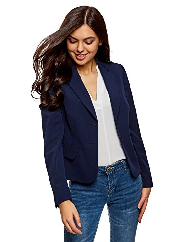 oodji Collection Donna Blazer Basic Aderente Blu IT 50 / EU 46 / XXL
