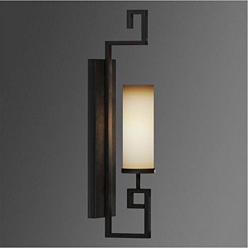 SC&MM Cinese-stile lampada da parete a testa singola lampada da parete camera da letto nero (Elettronico Digitale Scala In Vetro)