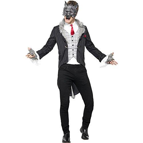 Smiffy's 44395M - Herren Großer Böser Wolf Kostüm, Größe: M, grau