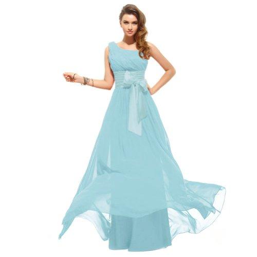Lemandy robe de soirée mousseline épaule asymétrique longueur ras du sol Bleu