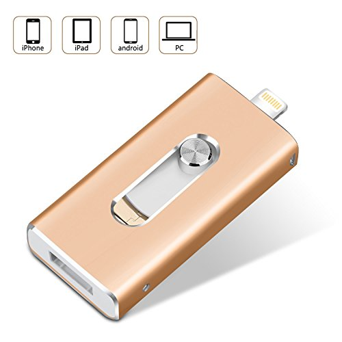 32GB iPhone USB Stick Externer Speicher, TPSON iPad Speichererweiterung Lightning Micro USB Speicherstick 3 in 1 für Apple, IOS, Android und Computers (32GB, Gold) (2.0 Usb Flash 1)