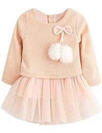 Vestido Tutú 6-18 Meses para Bebé Niña Malla Vestidos Niñas Princesa Infantil Falda Tul Fiesta Lazo Pompón Manga Larga Algodón Punto Lindo
