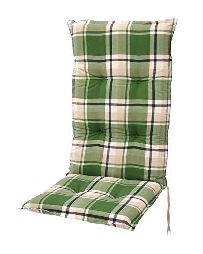 Homeoutfit24 Sun Garden Gartenstuhl-Auflage Prato in Grün, gepolstertes Sitzkissen für Hochlehner-Gartenmöbel, 120 x 50 x 7 cm, 1-Stück