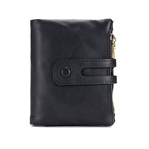 Herren Leder Brieftasche Casual Vintage Short Folding Multifunktionale Geldbörse (Brieftasche Herren Leder Hipster)