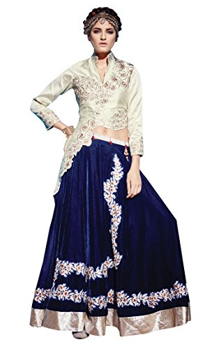 INMONARCH da donna meraviglioso Crema seta grezza Lehenga stile Anarkali Suit slki01005 Cream scucito
