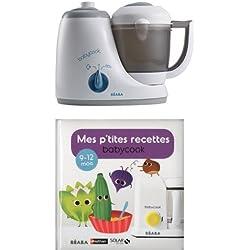 Béaba - 912471 - Babycook Original - Gris/Bleu + Mes p'tites recettes Babycook 9-12 mois