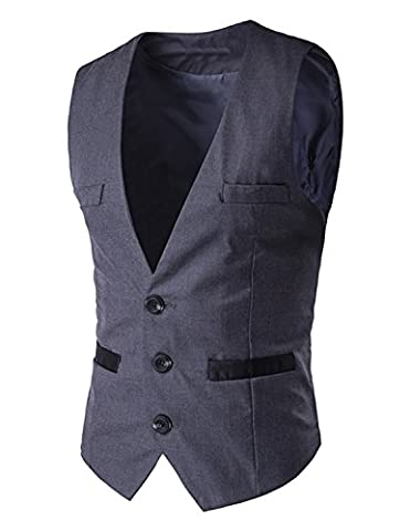 Boom Fashion Single-breasted Gilet Veston Veste Costume Sans Manches Slim Homme Blazer