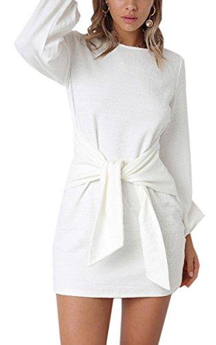 ECOWISH Damen Kleid Sexy Bodycon Langarm Rundhals Sommerkleid Casual Vorderseite Binden Kurze Minikleid Weiß M