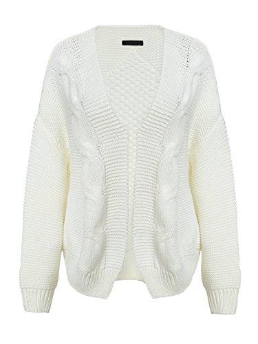 Melegant Damen Strickjacke Elegant Langarm Oversize Kurz Open Cardigan Strickmantel Weiß
