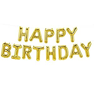 ballonfritz® Luftballon HAPPY BIRTHDAY -Schriftzug in GOLD - XXL Folienballon als Geburtstags Deko, Begrüßung, Party Geschenk oder Fotorequisite