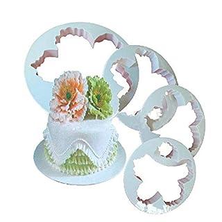 CSDSTORE Fondant Weiß BHCSTORE 4 Stk Pfingstrose Blütenblatt Form Cutter Fondant Kuchen Zucker Paste Icing Schneidwerkzeug