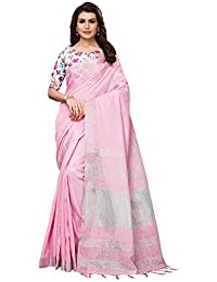 AKHILAM Women's Linen Saree With Unstitched Blouse Piece (11H_Pink)
