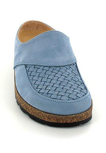 HAFLINGER Leder-Clog mit Flechtung Outdoor-Hausschuhe Jeans