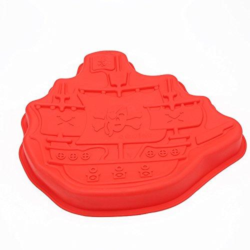 Mishuai Silikonform, Kuchenform, segelt Boot-förmige Nahrungsmittelgradsilikongeburtstags-Kuchenform Hochtemperatur (Boot-kuchenform)