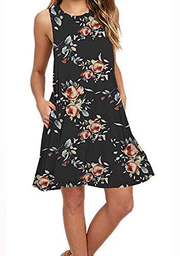 OMZIN Damen Trägershirt Basic Tank Tops mit Taschen Einfärbig Sommerkleid Mini Strandkleid,Schwarz,S