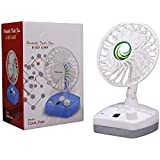 CITRA Portable Rechargeable USB 6 Inch 7 Speed Table Desk Fan with Extra Bright Led Light - Random Colors