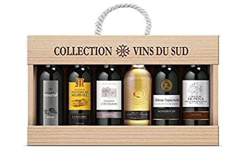 Collection Vins du Sud South of France Wine in Wooden Gift Box, 6x37.5 cl