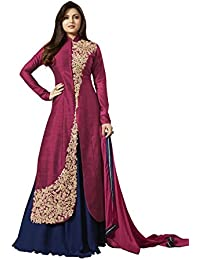 Ank Women's Banglori Silk Semi-stitched Salwar Suit (LT_Rani_1_Maroon & Blue)