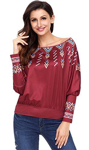 SZIVYSHI Batwing Dolman Sleeve Aztekisch Gedruckt Plissee Plissiertes Blouse Bluse Hemd Shirt T-Shirt Oberteil Top Burgund S (Dolman Printed Top Sleeve)