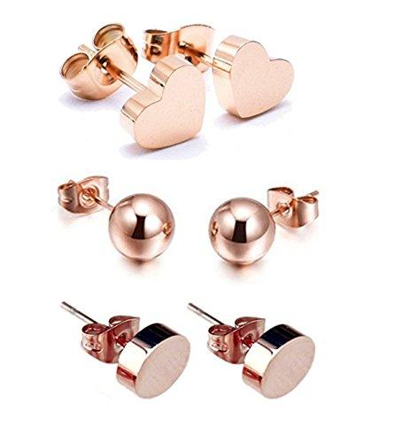 señoras 14 K bañado en oro rosa Classic Simple de acero de titanio 7 mm Corazón. 6 mm bola. 5 mm Bean 3 pares pendientes, Lovely de Navidad oferta especial regalo para las mujeres las niñas fi