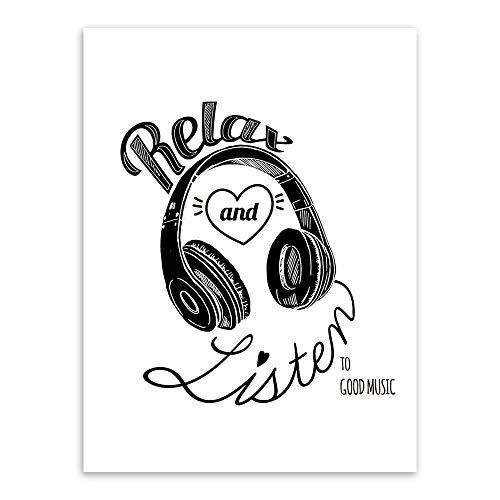 XWArtpic Creativo Relax Escuchar Amor Música Corazón Auriculares Traje de Casco Espacial Decoración del hogar Sala de Estar Carteles Arte de la Pared Pintura de la Lona 50 * 70 cm