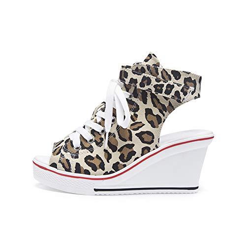 Sokaly Femme Basket Mode Compensées Sneakers à Haute Talons Fashion Imprimé Leopard Chaussure de Sport Lacet Tennis Casuel Fille Taille 36-41 (37 EU, Imprimé Leopard)
