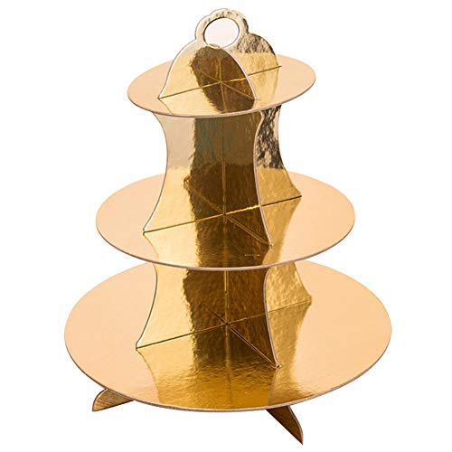 msyou 3Etagen Cupcake-Ständer rund gestapelt Kuchen Muffin Display Lebensmittel Ständer aus Karton für Hochzeiten Geburtstag Halloween Weihnachten Party (weiß), Pappe, gold, 34,5 cm