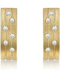 Carissima Gold 9 ct Yellow Gold 0.12 ct Diamond Satin Curved Bar Drop Earrings