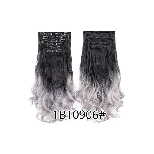 Hochtemperaturfaser-lockige synthetische 16 Clips in Haarverlängerungen für Frauen Toupets Brown Haarteile-in Synthetic Clip, 1BT0906,22inches