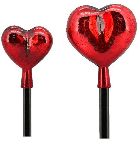 EllasDekokrempel Herz mit Stab Surplus, rot gekrakelt Glas/Holz,20x6,5x120 cm (große Variante)
