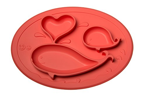 Smith's Mini Mat - One-Piece Silicone Placemat + Plate (Coral) + FREE Smith's Caterpillar Silicone Spoon (RRP: £3.99) Perfect for High Chair + Traveling