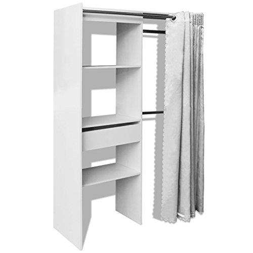 Festnight armadio con tenda/armadio cabina guardaroba larghezza regolabile 121-168 cm bianco