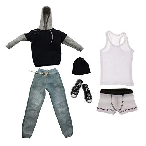 Homyl 1/6 Männliche Action Figur Kleidung Set - Schwarze langärmelig T-Shirt & Dunkelblau Jeans (Puppe Kostüm Männlich)