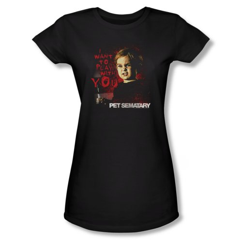 Mädchen PET SEMATARY Flügelarm I WANT TO PLAY Large T-Shirt Tee Größe L