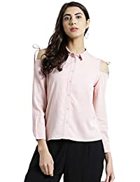 Zink London Long Sleeves Solid Shirt Style Top for Women