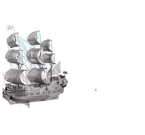 Metall Modell schwarz Perle Piratenschiff Karibik Puzzle Gehirnentwicklung Erhöhen Sie Kinder Hands-on Spaß Freund Geschenk Silber + Werkzeug-Set 14 * 4,5 * 12,2 cm