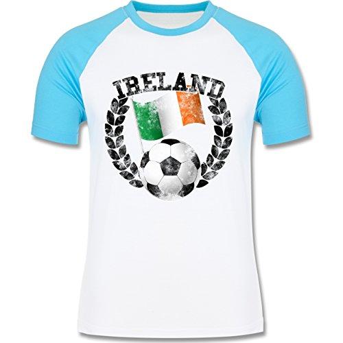 EM 2016 - Frankreich - Ireland Flagge & Fußball Vintage - zweifarbiges Baseballshirt für Männer Weiß/Türkis