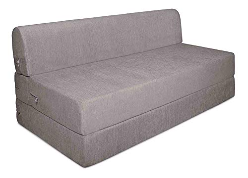 Aart Store Sofa Cum Double Bed 4x6 Two Seater Sleeps & Comfortably Perfect for Guests Silver Color