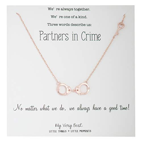 My Very Best Partners in Crime Handcuff BFF Halskette Rose Gold überzogen Messing Rose Gold überzogen Messing